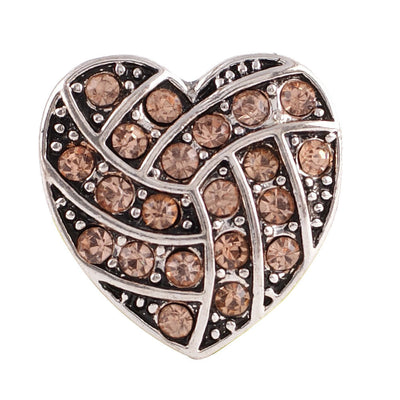 1 PC - 18MM Peach PInk Heart Rhinestone Silver Charm for Candy Snap Jewelry KC8511 CC2240
