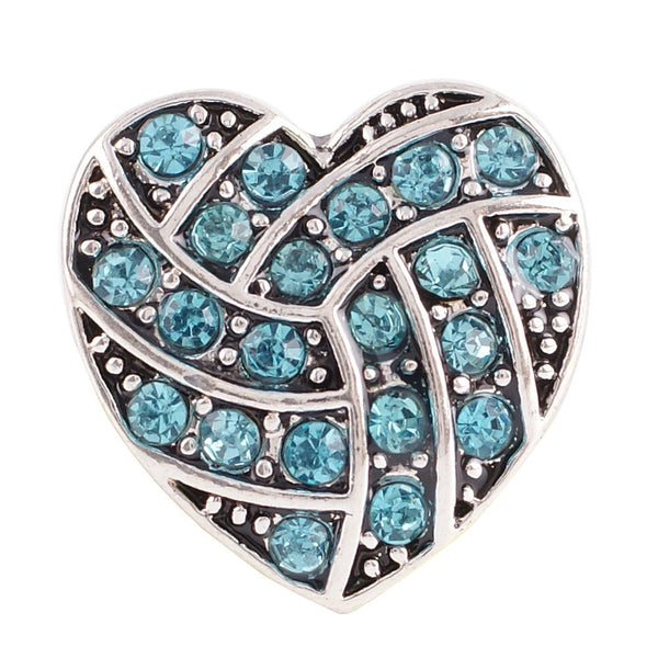 1 PC - 18MM Blue Heart Rhinestone Silver Charm for Candy Snap Jewelry KC8512 Cc2241