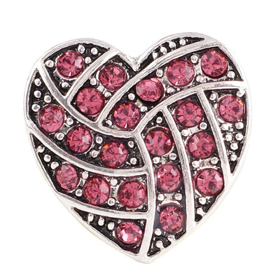 1 PC - 18MM Pink Heart Rhinestone Silver Charm for Candy Snap Jewelry KC8514 CC2243