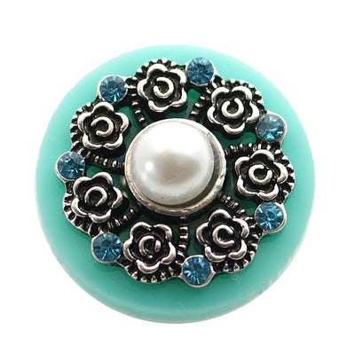1 PC - 18MM Flower Blue Pearl Rhinestone Silver Snap Candy Charm kb6846 CC1984