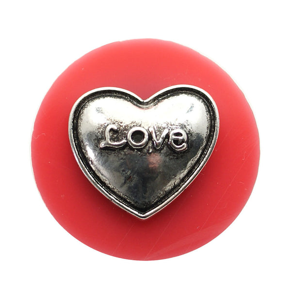 1 PC - 18MM Pink Love Heart Silver Snap Candy Charm kb6849 CC1987
