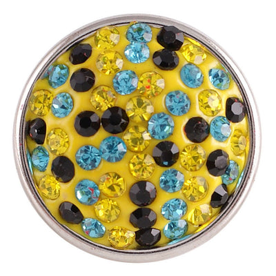 1 PC - 18MM Yellow Blue Black Rhinestone Silver Charm for Candy Snap Jewelry KC2710 CC2296