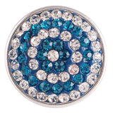 1 PC - 18MM Blue Swirl Rhinestone Silver Charm for Candy Snap Jewelry KC2742 CC2304