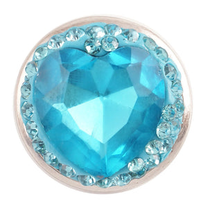 1 PC - 18MM Blue Heart Rhinestone Silver Charm for Candy Snap Jewelry KC4004 CC2308