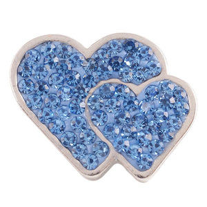 1 PC - 18MM Blue Heart Rhinestone Silver Charm for Candy Snap Jewelry KC4016 CC2314