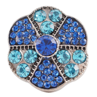 1 PC - 18MM Blue Rhinestone Silver Charm for Candy Snap Jewelry KC7104 CC2365
