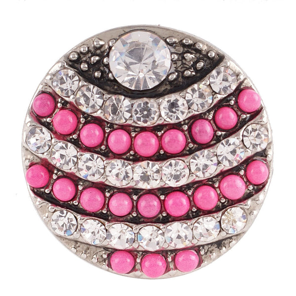 1 PC - 18MM Pink White Rhinestone Silver Charm for Candy Snap Jewelry KC7107 Cc2368