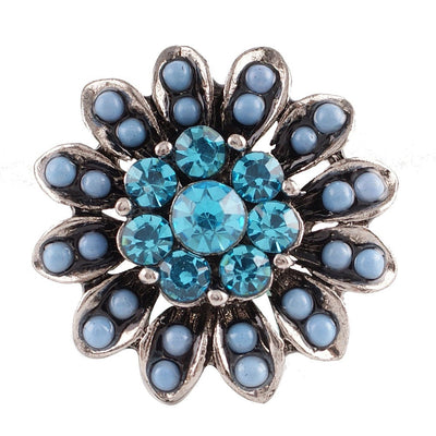 1 PC - 18MM Blue Rhinestone Silver Charm for Candy Snap Jewelry KC7109 CC2370