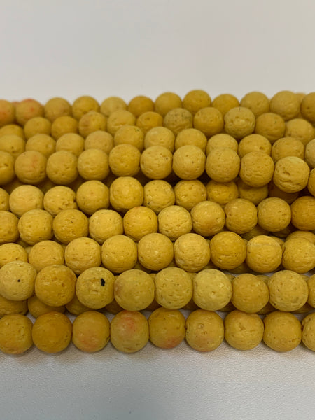 "1- 15"" Strand -8mm (Dye Issues) Yellow Lava Stone Round Strand Bead Strand - LAVA0002"