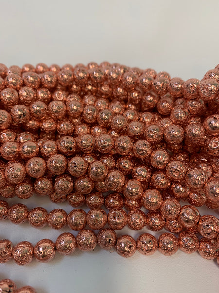 "1- 15"" Strand -8mm Rose Gold Electroplated Lava Stone Round Strand Bead Strand - LAVA0009"