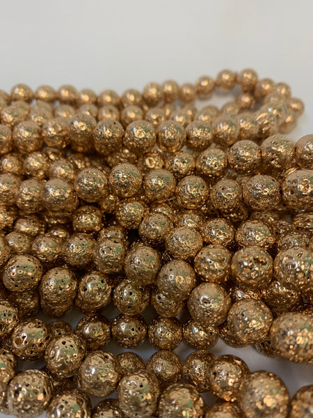 "1- 15"" Strand -10mm Gold Electroplated Lava Stone Round Strand Bead Strand - LAVA0012"