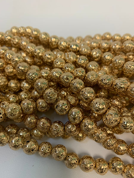 "1- 15"" Strand -8mm Gold Electroplated Lava Stone Round Strand Bead Strand - LAVA0013"