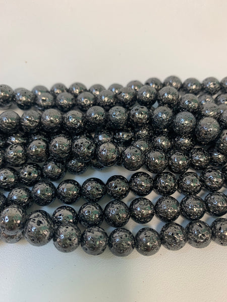 "1- 15"" Strand -8mm Black Electroplated Lava Stone Round Strand Bead Strand - LAVA0015"