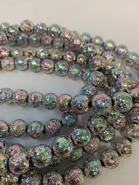 "1- 15"" Strand -10mm Rainbow Electroplated Lava Stone Round Strand Bead Strand - LAVA0016"