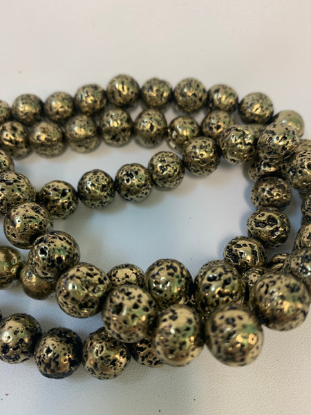 "1- 15"" Strand -10mm Antique Gold Electroplated Lava Stone Round Strand Bead Strand - LAVA0019"
