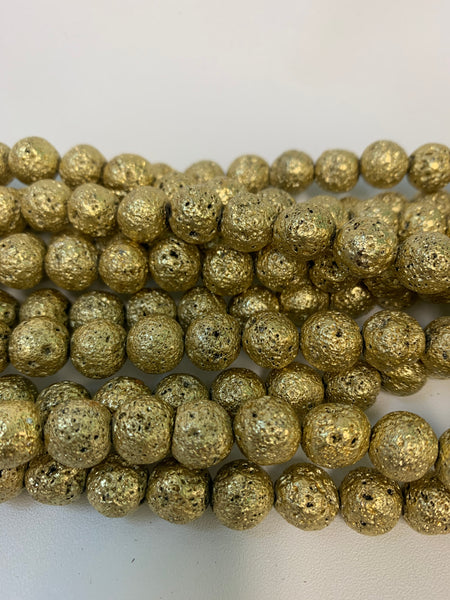 "1- 15"" Strand -10mm Light Gold Electroplated Lava Stone Round Strand Bead Strand - LAVA0020"