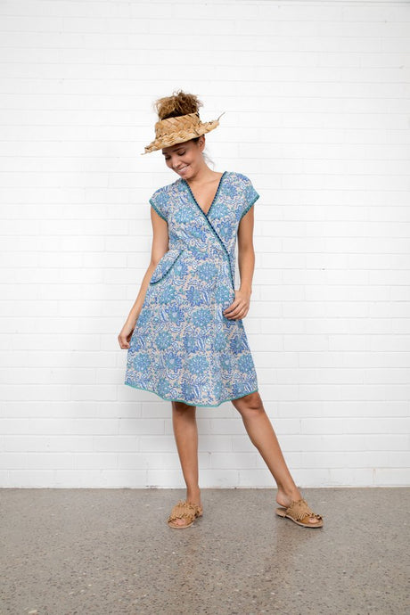 Boom Shankar Betti Dress Bluebell Block Print