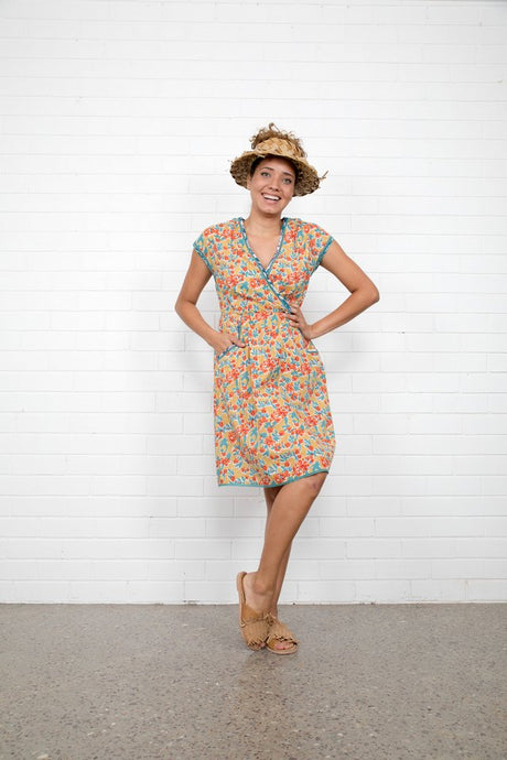 Boom Shankar Betti Dress Sweet Pea Block Print
