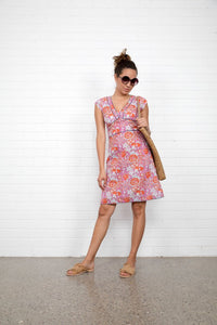 Boom Shankar Daisy Dress Rose Block Print