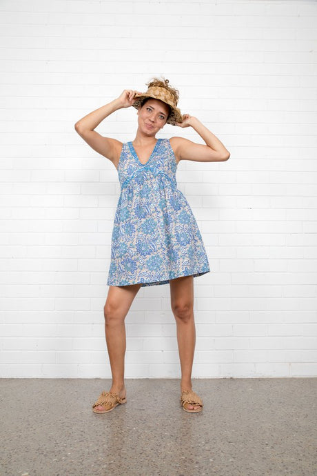Boom Shankar Lilly Dress Bluebell Block Print