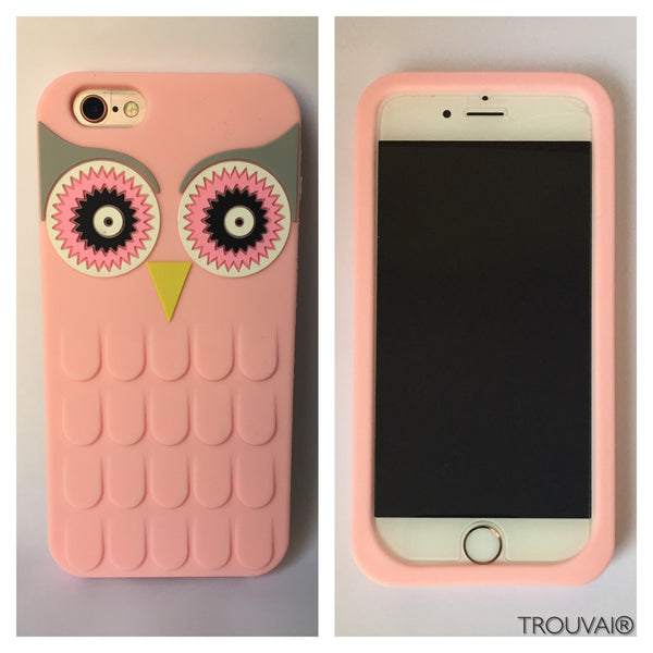 Estuche para iPhone 6/6s. Modelo búho color rosado