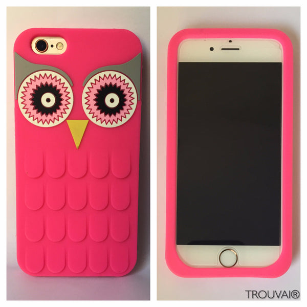 Estuche para iPhone 6/6s. Modelo búho color fucsia