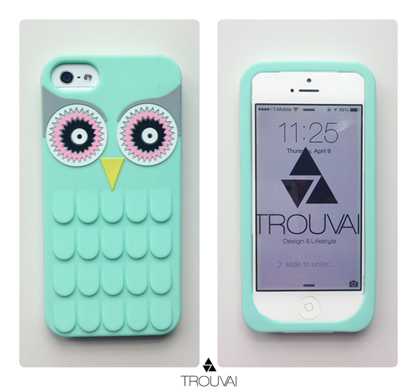 Estuche para iPhone 6/6s. Modelo búho color menta.