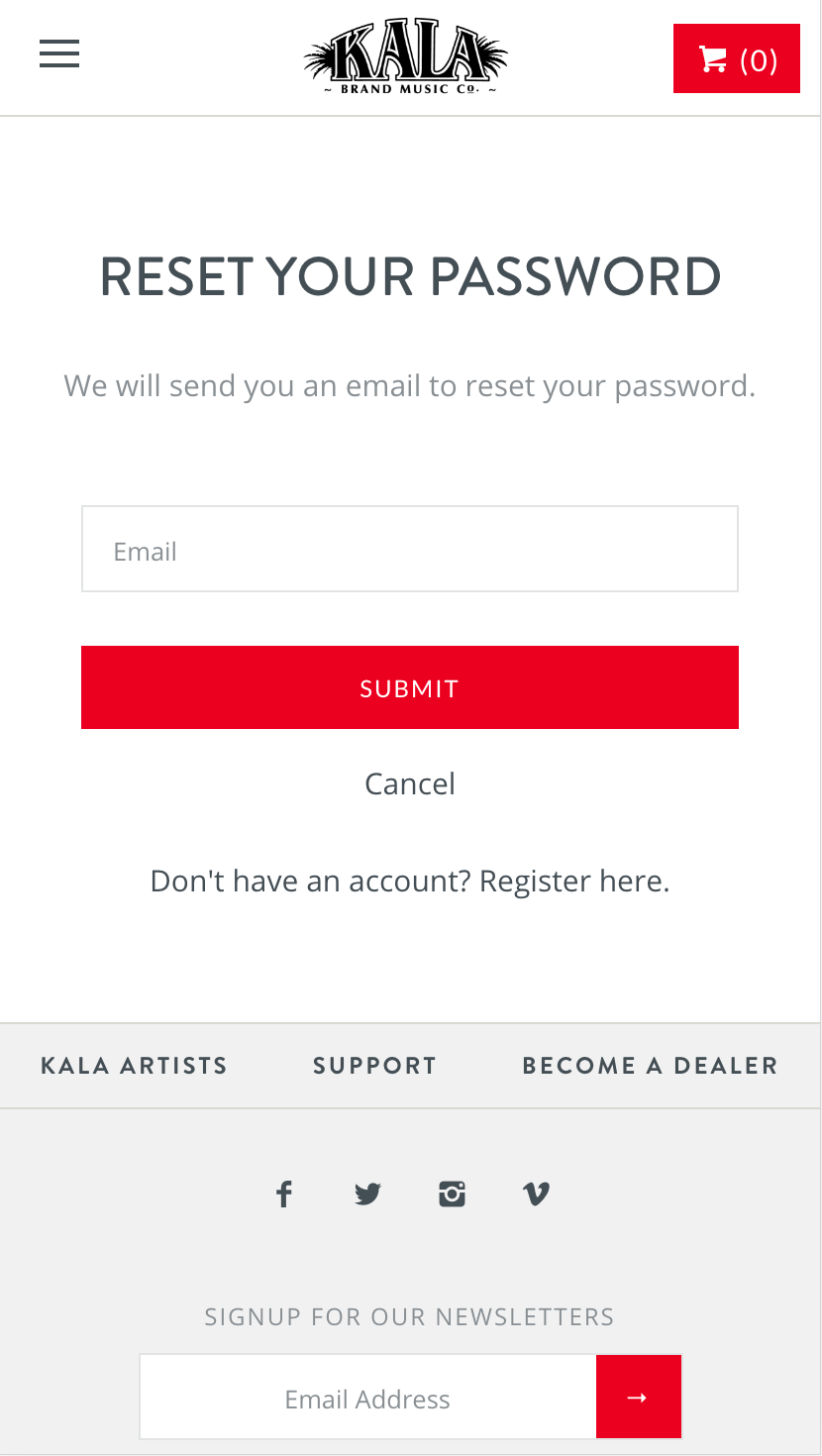 Input your email no the Forgot Password page and we'll send you an email to reset your password