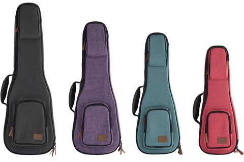 Sonoma Coast Ukulele Cases in Goat Rock Gray, Vista Point Purple, Bodega Blue, and Russian River Red