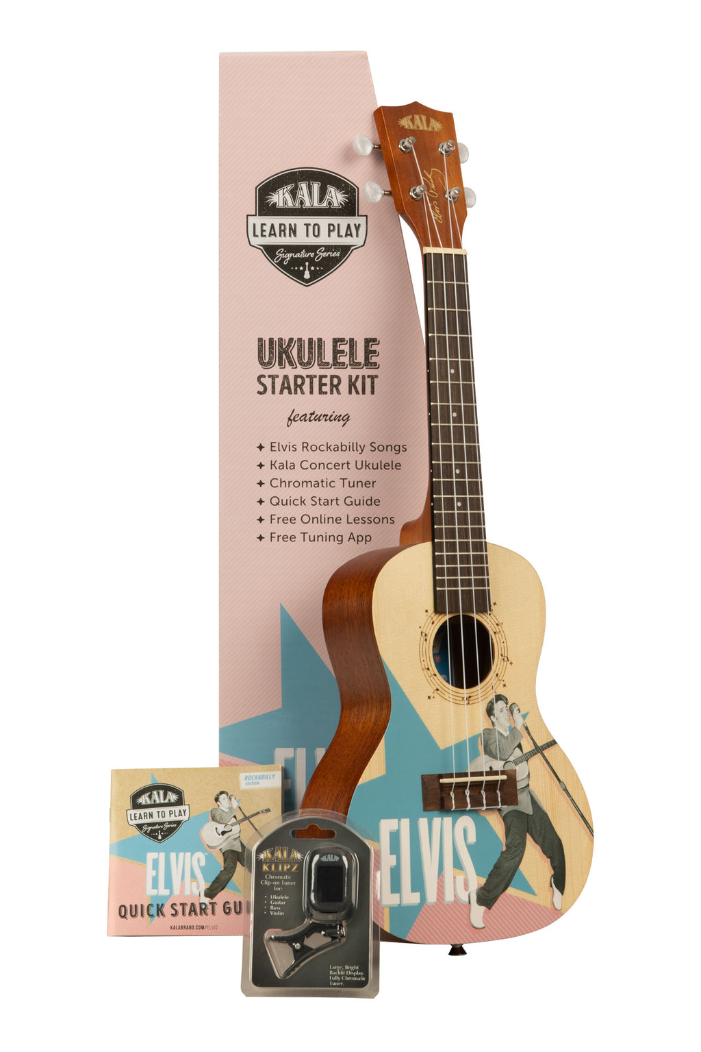 Kala Learn To Play Elvis Rockabilly Concert Ukulele Starter Kit
