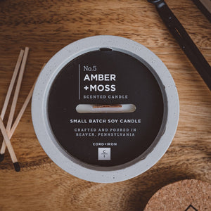 Amber + Moss - Cement Candle