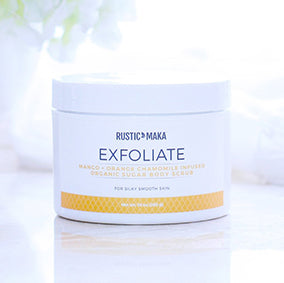 EXFOLIATE Mango + Orange Chamomile Infused Organic Sugar Body Scrub
