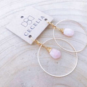 Wire Wrapped Earrings - Pink Opal