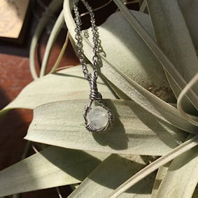 Necklace - Tiny Moonstone & Stainless Steel