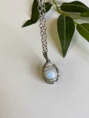 Necklace - Moonstone & Stainless Steel