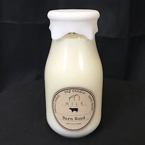 Milk Bottle Candle- Barn Wood