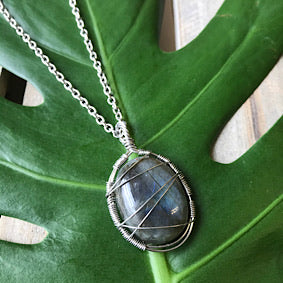 Necklace - Labradorite & Stainless Steel
