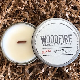 Jelly Jar Wood Wick Soy Candle - Apricot Wheat