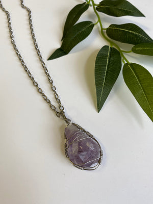 Necklace - Amethyst & Stainless Steel