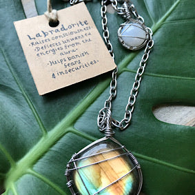 Layered Necklace - Labradorite, Moonstone & Stainless Steel