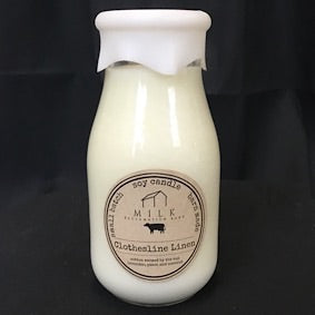 Milk Bottle Candle- Clothesline Linen