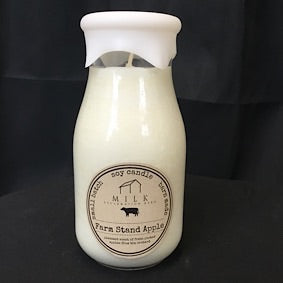 Milk Bottle Candle- Farm Stand Apple
