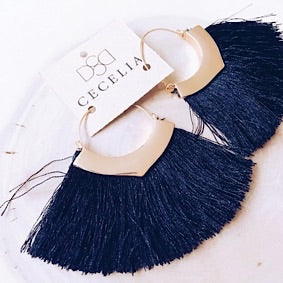 Tassel Earrings - Black and Gold