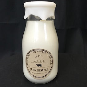 Milk Bottle Candle- Cozy Cottage