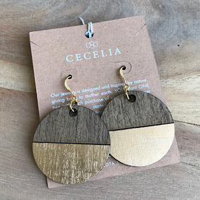 Gold Painted Wood Earrings