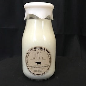 Milk Bottle Candle- Smokehouse Applewood