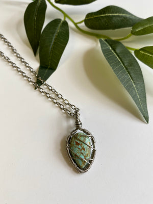 Necklace - Variscite & Stainless Steel