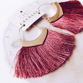 Tassel Earrings - Pomegranate and Gold