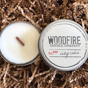Jelly Jar Wood Wick Soy Candle - Cozy Cabin
