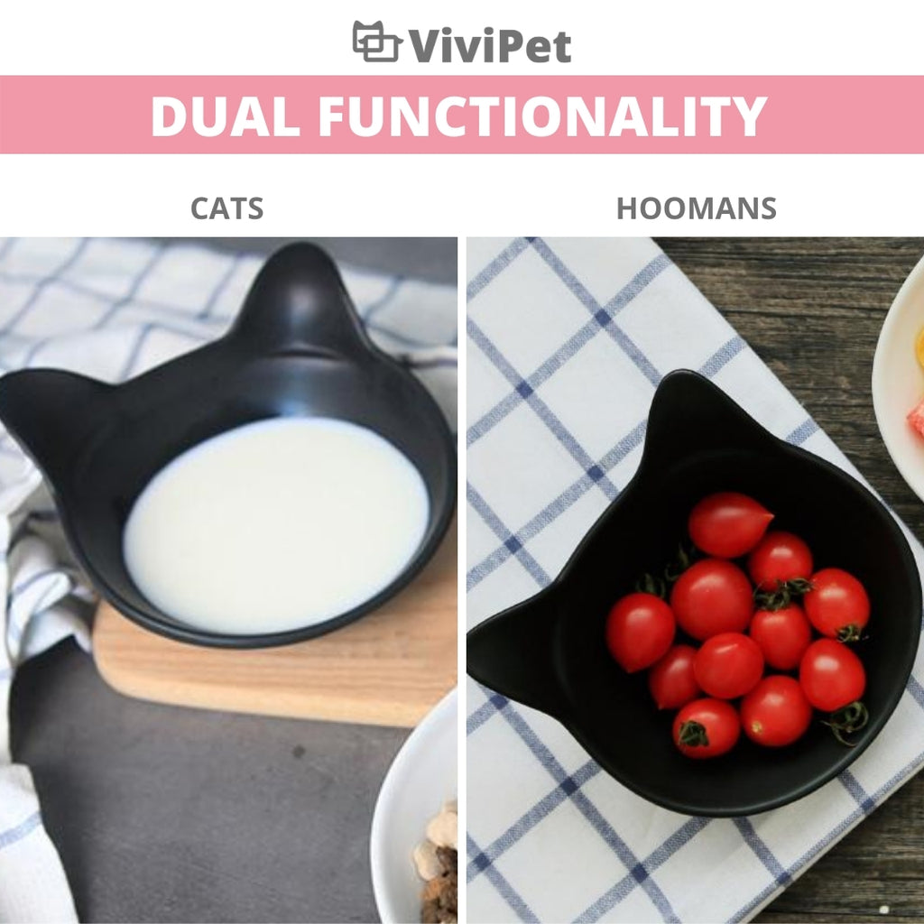 ViviPet Designed | Ceramic Kitty Bowls Set for Feeders